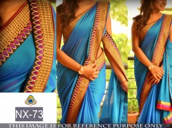 Blue paper Silk Saree