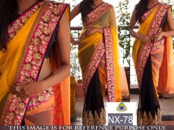 Black & yellow half & Half Saree