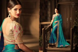 CYAN BLUE GEORGETTE / SATIN SAREE