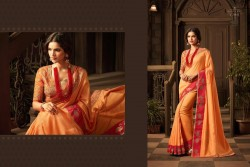 ORANGE GEORGETTE / SATIN SAREE