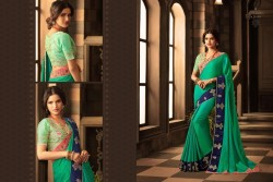 GREEN GEORGETTE / SATIN SAREE
