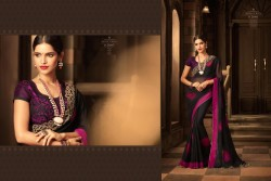 BLACK GEORGETTE / SATIN SAREE