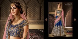 PEACH & NEAVY BLUE HANDLOOM SILK LEHENGA CHOLI