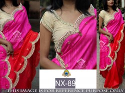 PINK AND RED NAYLON SILK GEORGETTE SAREE
