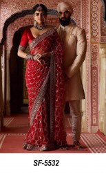 RED  RANGOLI GEORGETTE SAREE