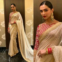 DEEPIKA WHITE NET SAREE