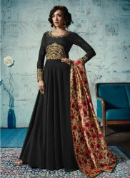 Black Satin Tafeta Anarkali Suit