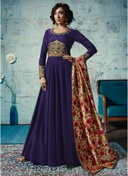 Blue Satin Tafeta Anarkali Suit