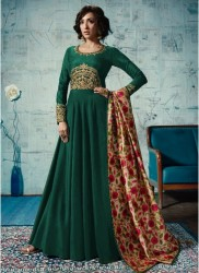 Green Satin Tafeta Anarkali Suit