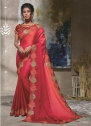 Red Dual Tone Satin Silk Saree