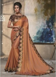 Brown Dual tone satin silk Saree