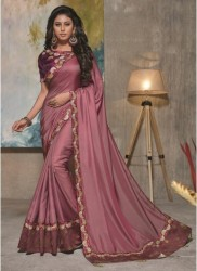 Pink Satin Silk Saree