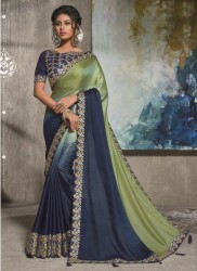 Blue Dual Tone Satin Silk Saree
