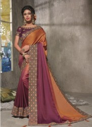 Pink & Light Orange Dual Tone Satin Silk Saree