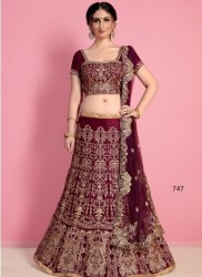 Wine Velvet Silk Bridal Lehenga Choli