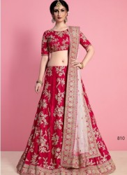 Pink & Light Pink Velvet Silk Bridal Lehenga Choli