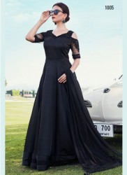 Black Soft Taffeta Silk Readymade Gown