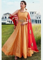 Yellow Soft Taffeta Silk Readymade Gown
