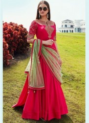 Pink Soft Taffeta Silk Readymade Gown