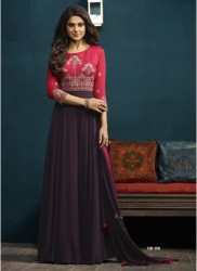 Purple Georgette & Silk Jennifer Winget Readymade Gown (With Dupatta)
