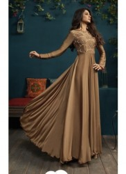 Brown Silk & Georgette Jennifer Winget Readymade Gown (With Dupatta)