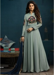 Silver Silk & Georgette Jennifer Winget Readymade Gown (With Dupatta)