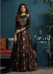 Black Satin Silk & Digital Print Jennifer Winget Readymade Gown (With Dupatta)