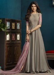 Beige Silk & Georgette Jennifer Winget Readymade Gown (With Dupatta)