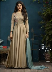 Gold Silk & Georgette Jennifer Winget Readymade Gown (With Dupatta)