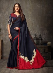 Blue Malhari Silk Embroidery Saree