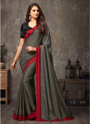 Metal Gray Malhari Silk Embroidery Saree