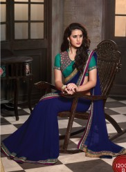 Blue Georgette Embroidery Saree