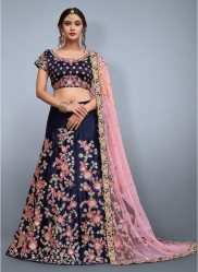 Navy Blue & Pink Velvet Silk Bridal Lehenga Choli