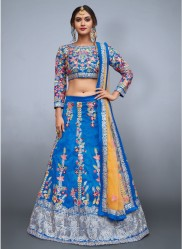 Blue & Yellow Art Silk Bridal Lehenga Choli