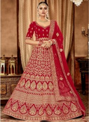 Red Velvet Bridal Lehenga Choli