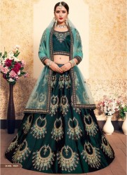 Dark Green Satin Bridal Lehenga Choli