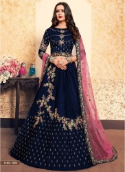 Navy Blue Satin Bridal Lehenga Choli