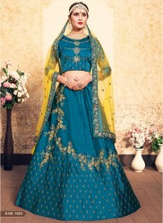 Sky Blue Satin Bridal Lehenga Choli