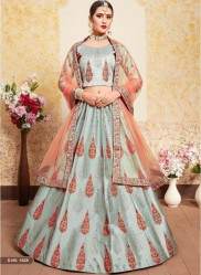 Gray Satin Bridal Lehenga Choli