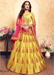 Yellow Satin Bridal Lehenga Choli
