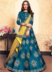 Teal Blue Satin Bridal Lehenga Choli