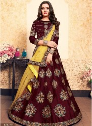 Brown Satin Bridal Lehenga Choli