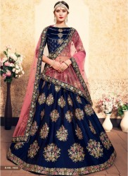Navya Blue Satin Bridal Lehenga Choli