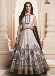 Off White Heavy Modal Chanderi Ankle-Length Readymade Suits