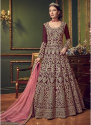 Wine Silk Anarkali Suit
