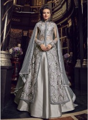 Silver Net Anarkali Suit