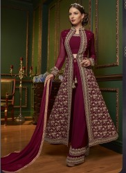 Maroon Georgette Anarkali Suit