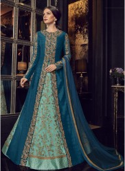 Sea Green & Teal Blue Silk Anarkali Suit