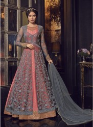 Gray & Pink Net Anarkali Suit