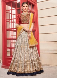 Cream Phantom Silk Bridal Lehenga Choli